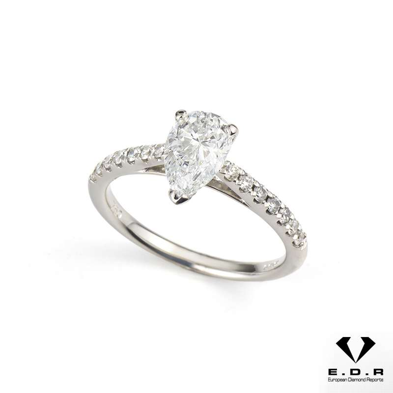 18k White Gold Pear Cut Diamond Ring 1.01ct D/VVS1